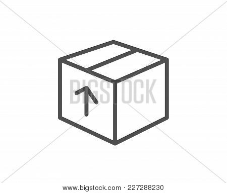 Delivery Box Line Icon. Logistics Shipping Sign. Parcels Tracking Symbol. Quality Design Element. Ed