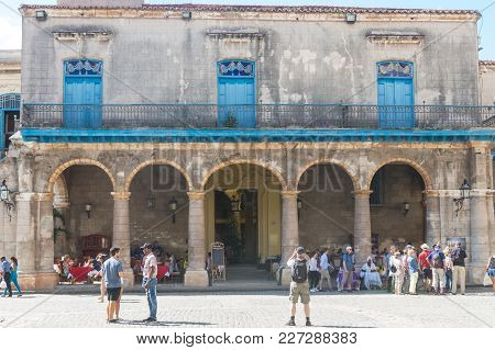 Havana, Cuba - January 16, 2017: Arcades Of The Palace Of The Conde Lombillo. In The Cathedral Squar