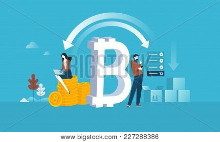 Blockchain. Flat Design Style Web Banner Of Blockchain Technology, Bitcoin, Altcoins, Cryptocurrency