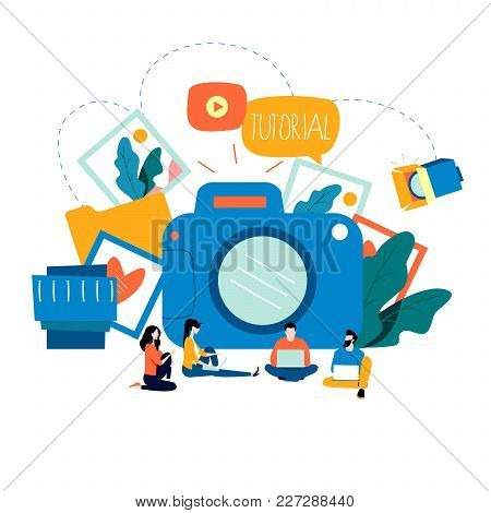 Photography Classes, Photography Courses, Tutorials, Education Concept, Workshops Flat Vector Illust