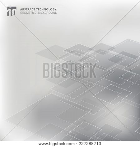 Abstract Geometric Squares Shape Pattern Perspective Technology Gray Color Background. Vector Graphi