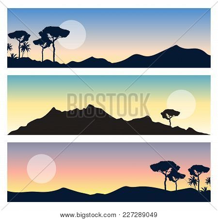 Set Of Beautiful Landscapes. Panoramic Views With Mountains, Sun, Colorful Sky And Trees Silhouettes