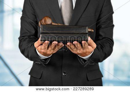 Male Hands Judge Gavel Table Closeup Sitting