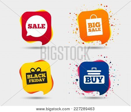 Sale Speech Bubble Icons. Buy Cart Symbols. Black Friday Gift Box Signs. Big Sale Shopping Bag. Spee
