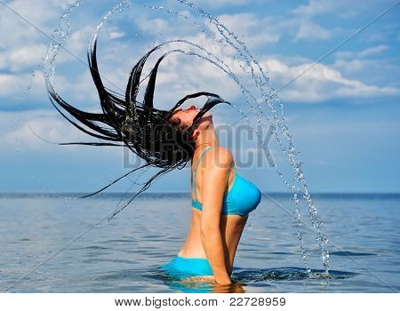 The Woman With Splashes From Hair