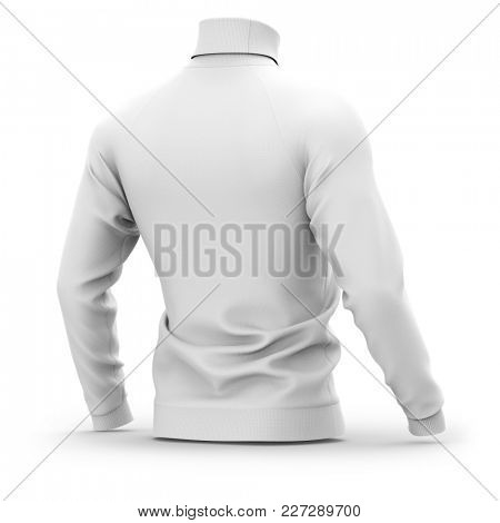 Men's sweater with long raglan sleeves. Half back view. 3d rendering. Clipping paths included: whole object, collar, sleeves. Isolated on white background. White (shadows template)