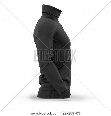 Men's sweater with long raglan sleeves. Side view. 3d rendering. Clipping paths included: whole object, collar, sleeves. Isolated on white background. Black (highlights template)
