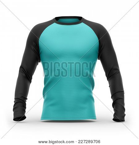 Men's blue t shirt with long black raglan sleeves. Front view.3d rendering. Isolated on white background. Clipping paths included: whole object, collar, sleeves.