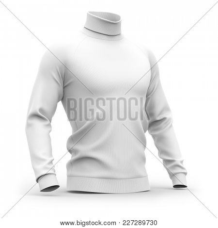 Men's sweater with long raglan sleeves. Half-front view. 3d rendering. Clipping paths included: whole object, collar, sleeves. Isolated on white background. White (shadows template)