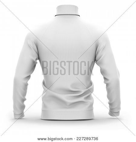 Men's sweater with long raglan sleeves. Back view. 3d rendering. Clipping paths included: whole object, collar, sleeves. Isolated on white background. White (shadows template)