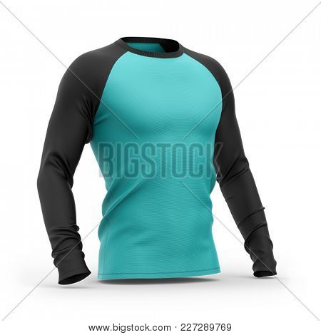 Men's blue t shirt with long black raglan sleeves. Half-front view.3d rendering. Isolated on white background. Clipping paths included: whole object, collar, sleeves.