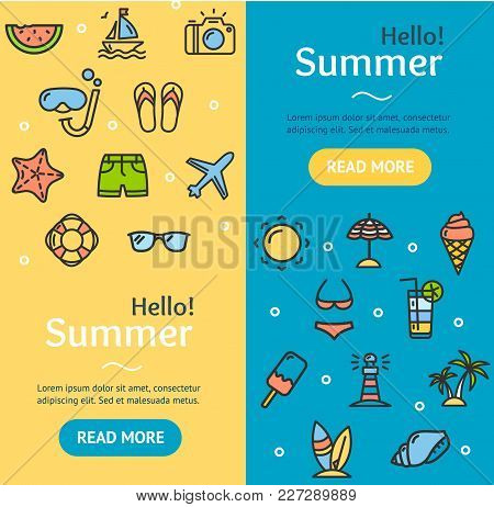 Hello Summer Banner Vecrtical Set With Color Outline Icons Include Of Scuba, Sun And Plane. Vector I