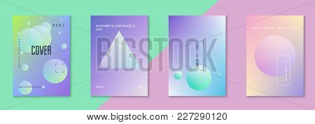 Holographic Fluid Set With Circles. Geometric Shapes On Gradient Background. Trendy Hipster Template