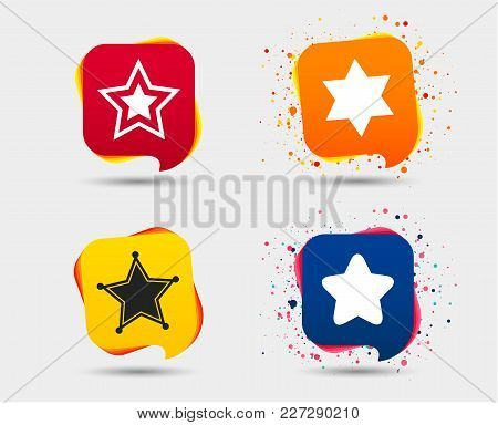 Star Of David Icons. Sheriff Police Sign. Symbol Of Israel. Speech Bubbles Or Chat Symbols. Colored