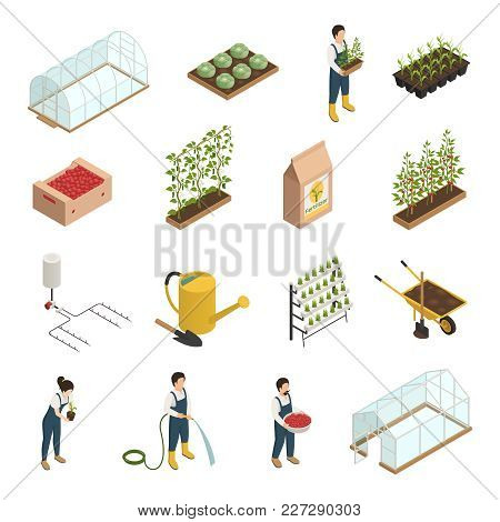 Greenhouse Facilities Personnel Tools Equipment Plants Accessories Isometric Icons Set With Wheelbar