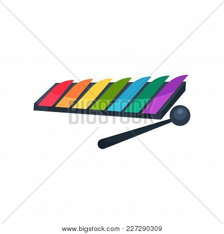 Cartoon Icon Of Xylophone With Colorful Keys And Stick. Children S Musical Instrument. Concept Of Ba