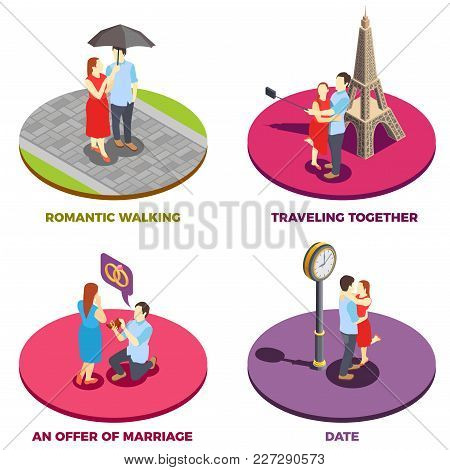 Romantic Relationship 2x2 Design Concept With Traveling Together Offer Of Marriage Date And Romantic