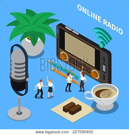 People Dancing And Listening To Online Radio Streaming During Break Isometric Composition On Blue Ba