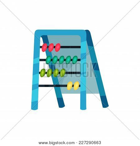 Cartoon Icon Of Abacus. Educational Counting Game. Rectangular Frame With Sliding Beads. Learning Th