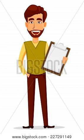Business Man With Beard, Cartoon Character. Young Handsome Businessman In Smart Casual Clothes Holdi