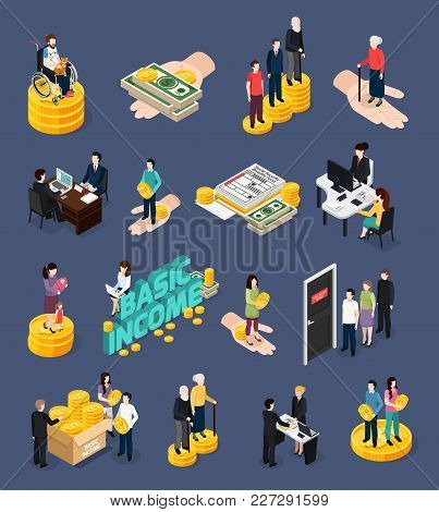 Social Security Icons Set With Unemployment Benefits Symbols Isometric Vector Illustration