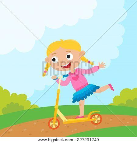 Cartoon Girl Riding A Bike Having Fun Riding Scooter In Park. Happy Kid Having Fun On Weekend. Summe