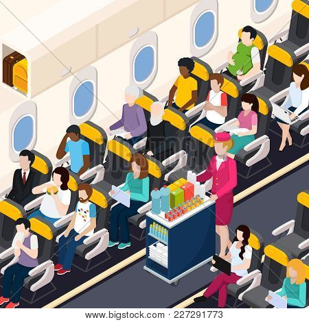 Airplane Passengers And Crew Isometric Composition With Food And Drinks Symbols Vector Illustration