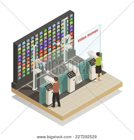 Automated Self-service Technologies In Video Games Shop Isometric Composition With Robotic Helper As