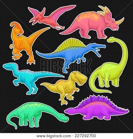 Colorful Collection Of Prehistoric Reptiles. Giant Animal Of Jurassic Period. Cartoon Dinosaur Chara