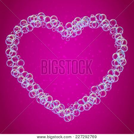 Shampoo Foam In Heart Shape With Realistic Water Bubbles On Pink Background. Cleaning Liquid Soap Fo