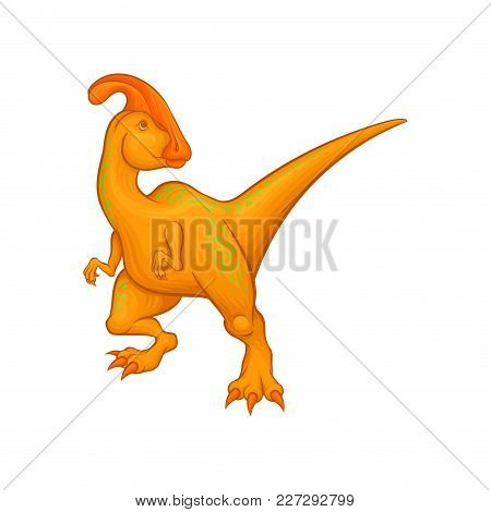 Cartoon Parasaurolophus Character Standing Isolated On White. Fantastic Creature With Long Tail, Cre