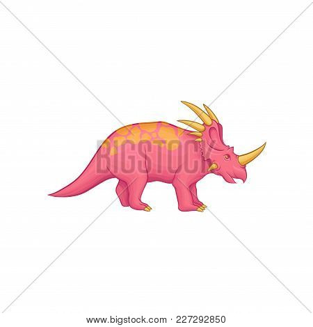 Cartoon Styracosaurus Dinosaur. Pink Prehistoric Creature With Long Tail, Orange Spots On Back, Horn
