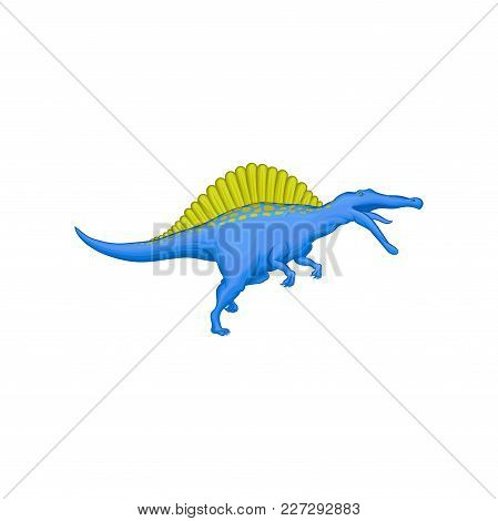 Cartoon Character Of Prehistoric Animal - Spinosaurus. Giant Blue Dinosaur With Green Spines On Back