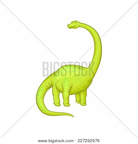 Giant Mamenchisaurus With Long Neck, Tail And Short Paws. Cartoon Character Of Green Dinosaur. Prehi