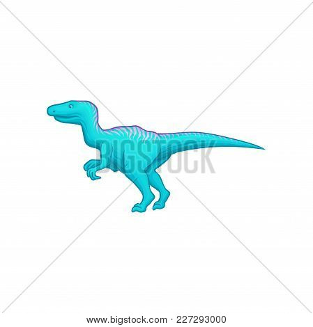 Blue Dinosaur With Long Tail, Short Fore And Long Hind Limbs. Giant Prehistoric Reptile. Animal Of J