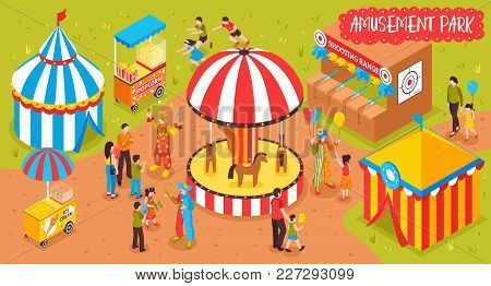 Isometric Amusement Park Circus Horizontal Composition With View Of Entertainment Park With Attracti
