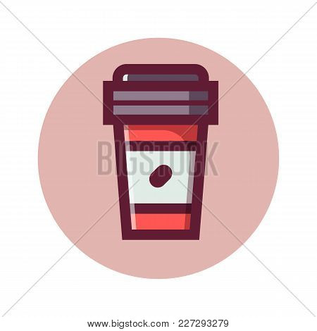 Paper Take Away Coffee Cup Icon. Hot Takeout Chocolate. Fresh Beverage In Flat Design. Bio Coffee To