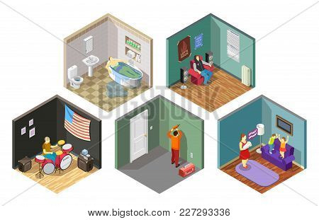 Neighbors Relations Set Of Isometric Compositions With Repair, Flooding, Spoiled Kids, Loud Music Is