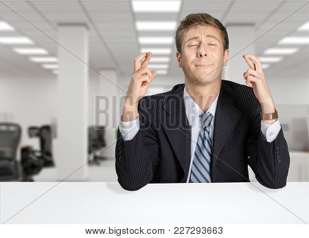 Man Fingers Businessman Crossed White Background Brown Hair Looking Up