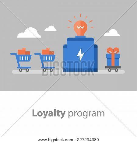 Loyalty Program, Earn Points For Purchase, Reward Concept, Full Shopping Cart, Redeem Gift, Vector I