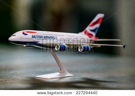 Johannesburg, South Africa, 09/29/2014 Illustrative Editorial Model Airplane Of A Airbus A380, Briti