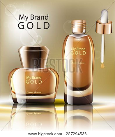 Realistic Gold Cosmetics Vector. Product Packaging Label Design