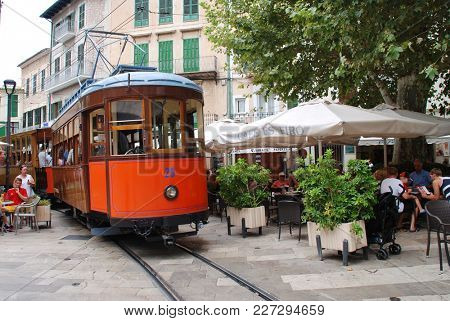 MAJORCA, SPAIN - SEPTEMBER 6, 2017: The vintage tram line at Soller on the Spanish island of Majorca. The 4.8km line between Soller and Port de Soller was opened in 1913.
