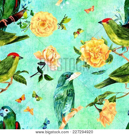 A Seamless Pattern With Watercolor Drawings Of Vibrant Teal Blue And Green Birds, Blooming Yellow Ro