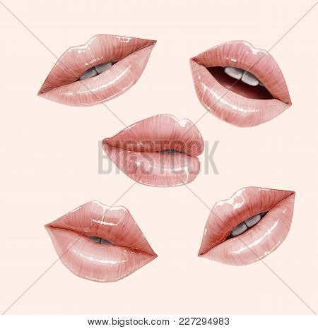 Nude Sensual Juicy Lips Collection. Mouth Set. Vector Lipstick Or Lip Gloss 3d Realistic Illustratio