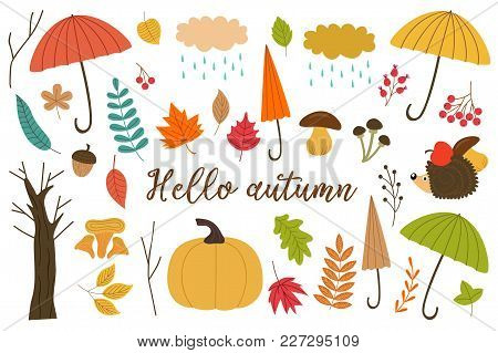 Set Of Isolated Elements Of Autumn - Vector Illustration, Eps