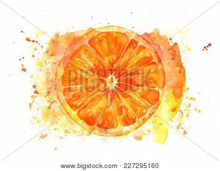 A Drawing Of A Watercolour Orange With Painterly Brush Strokes And Splashes, Hand Painted On A White