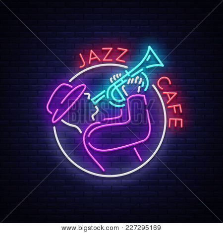 Jazz Cafe Logo In Neon Style. Neon Sign Symbol, Emblem, Light Banner, Luminous Sign. Bright Neon Nig