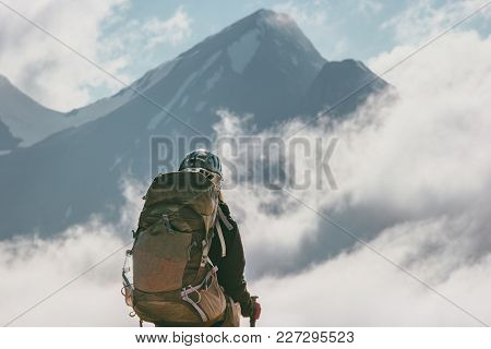 Traveler With Backpack Enjoying Mountains Clouds Landscape Travel Lifestyle Climbing Adventure Conce