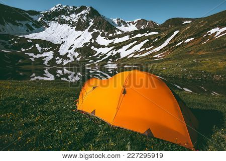 Orange Camping Tent In Mountains Landscape Travel Lifestyle Concept Adventure Summer Vacations Outdo